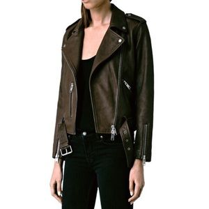 AllSaints Balfern Biker Jacket in Dark Brown, Sz 0